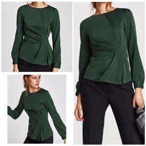 Zara Green Asymmetrical Ruched Side Slit Blouse S